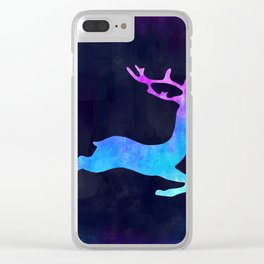 DEER LEAPING IN SPACE // Animal Graphic Art // Watercolor Canvas Painting // Modern Minimal Cute Clear iPhone Case