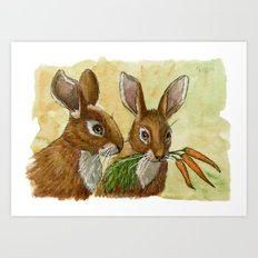 Funny Rabbits - Little Gift For You 529 Art Print