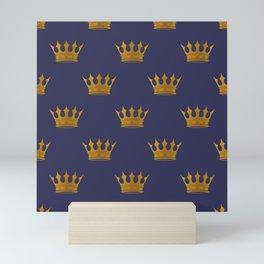 Royal Blue with Gold Crowns Mini Art Print