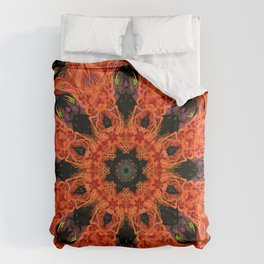 Confection Of Orange And Black Comforters