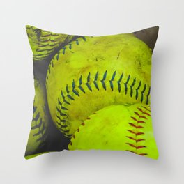 A Bucket Full of Softballs Throw Pillow