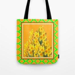 SPRING GREEN YELLOW DAFFODIL GARDEN ART PATTERN Tote Bag