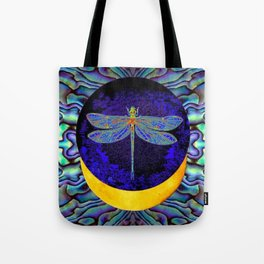 Mystical Midnight- Blue Moon  Gossamer Dragonfly Art  Tote Bag