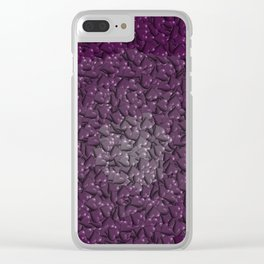 purple hearts Clear iPhone Case