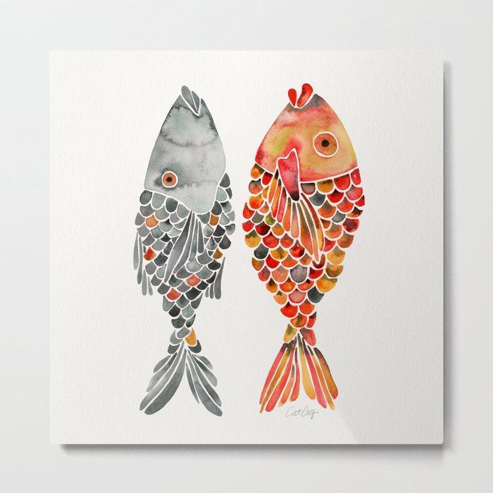 Indonesian Fish Duo – Grey & Orange Palette Metal Print