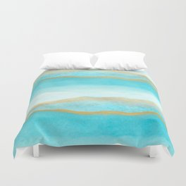 Gold and blue sea Duvet Cover