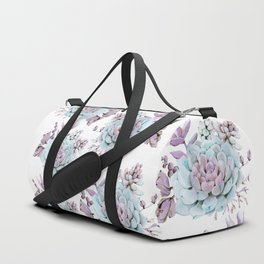 Turquoise and Violet Succulents Duffle Bag