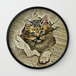 VINTAGE KITTEN DRAWING PRINT Wall Clock
