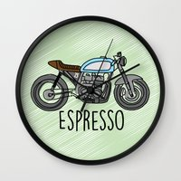 cafe racer Wall Clocks featuring Espresso - Cafe Racer by Andre Gascoigne