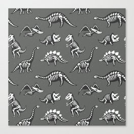 Dinosaur Skeleton Pattern Canvas Print