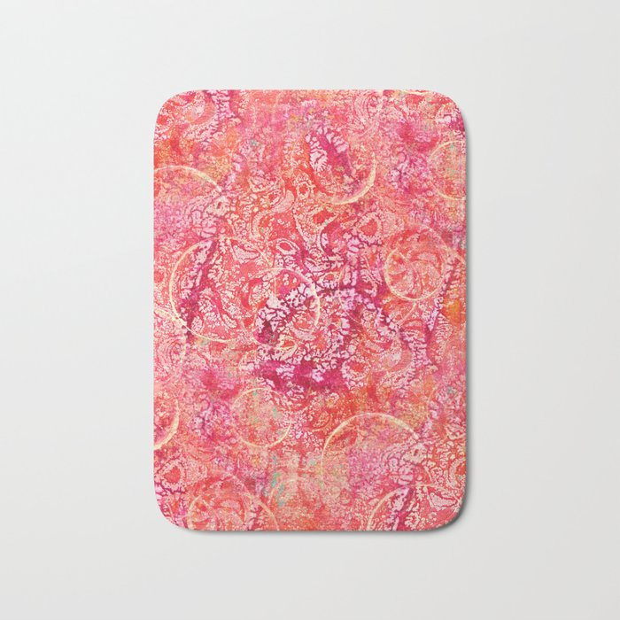 Abundance, Abstract Art Circles Grunge Bath Mat