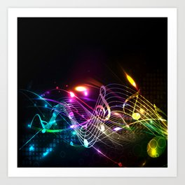 Music Notes in Color Art Print