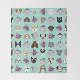 Dogs and cats pet friendly floral animal lover gifts dog breeds cat ladies Throw Blanket