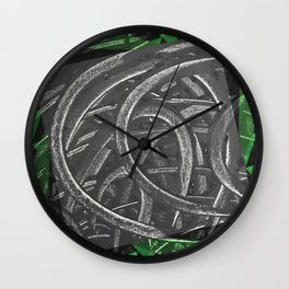 Junction - green/black graphic Wall Clock