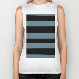 Inspired by Behr Blueprint Blue S470-5 Hand Drawn Fat Horizontal Lines on Black Biker Tank