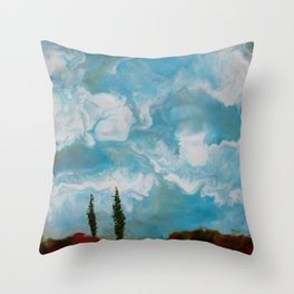 Cypress Trees encaustic wax painting by Seasons Kaz Sparks Throw Pillow