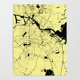 Amsterdam Yellow on Black Street Map Poster