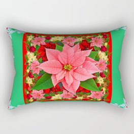 DECORATIVE SNOWFLAKES RED & PINK POINSETTIAS CHRISTMAS ART Rectangular Pillow