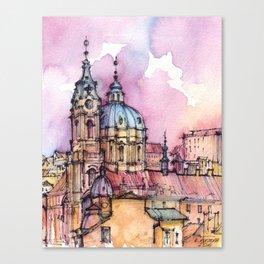 Prague ink & watercolor illustration Canvas Print