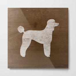 White Standard Poodle Silhouette(s) Metal Print