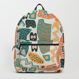 Abstract pattern with collage of chaotic colorful shapes and stains. Backpack