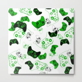 Video Game White and Green Metal Print