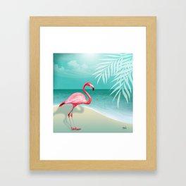 FLAMINGO BEACH | aqua Framed Art Print