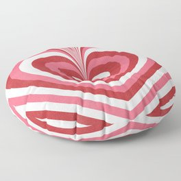 Psychedelic Heart Wave Print Pink Red Rose Retro Heart Pattern Floor Pillow
