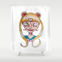 sailor moon Shower Curtains featuring sailor moon by Gal unicorn