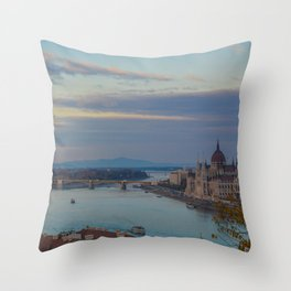 Danube River Budapest Sunset Throw Pillow