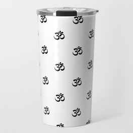 Black and White OM Pattern Travel Mug