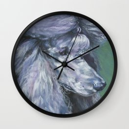 silver POODLE dog art portrait from an original painting by L.A.Shepard Wall Clock