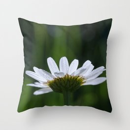White flower with dark and moody green Throw Pillow