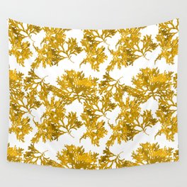Ocre Seaweed Pattern Wall Tapestry