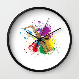 Colored Saxophon  Wall Clock