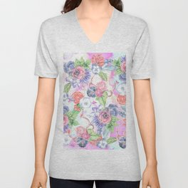 Bohemian Watercolor Flowers Leaves and Antlers Unisex V-Neck