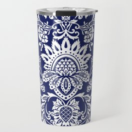 damask in white and blue Travel Mug