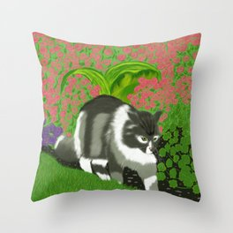Cat In The Garden Throw Pillow