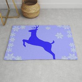 DECORATIVE LEAPING CHRISTMAS  BLUE DEER & SNOWFLAKES Rug