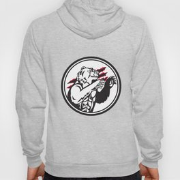 California Grizzly Bear Smirk Paw Circle Retro Hoody