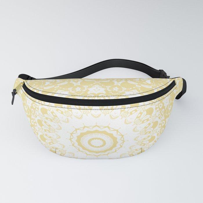 White Lace Mandala on Sunshine Yellow Background Fanny Pack