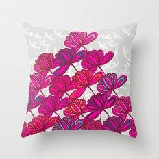 Hot Pink Floral Throw Pillow