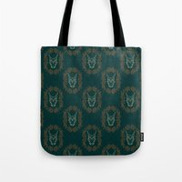 charizard Tote Bags featuring Charizard Skull by Kayla Catherine Illustration