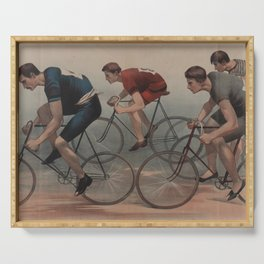 Vintage Cyclist Race Illustration (1896) Serving Tray