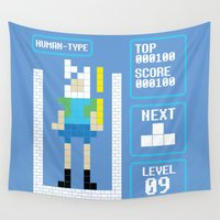 tetris Wall Tapestries featuring TETRIS: Human Type by Josh Ln