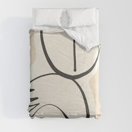 Lady Portrait Abstract Minimal  Line Art 3 Comforters
