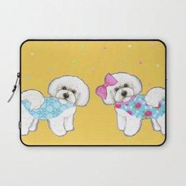 Bichon Frise Holidays yellow cute dogs, Christmas gift, holiday gift, birthday gift, dog, Bijon Laptop Sleeve