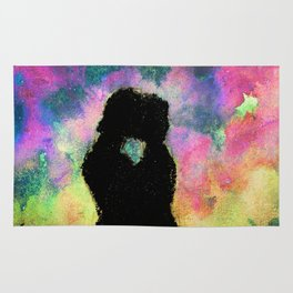 gay couple kissing in the night Rug