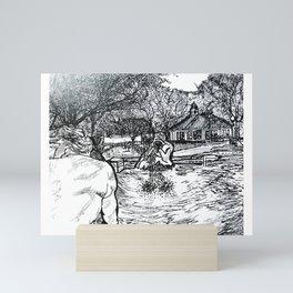 Spit & Spat, Saratoga Springs, Congress Park, Carousel, NY Horse Racing Mini Art Print