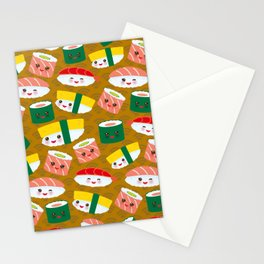 pattern Kawaii funny sushi set with pink cheeks and big eyes, emoji on brown mustard background Stationery Cards